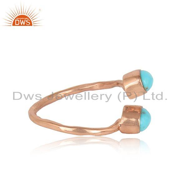 Designer of Dainty designer bypass turquoise ring in rose gold on silver 925