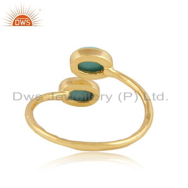 Designer of Arizona turquoise gemstone designer gold plated silver rings