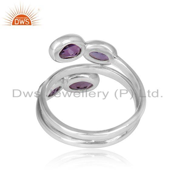 Designer of 925 sterling fine silver natural amethyst gemstone rings jewelry