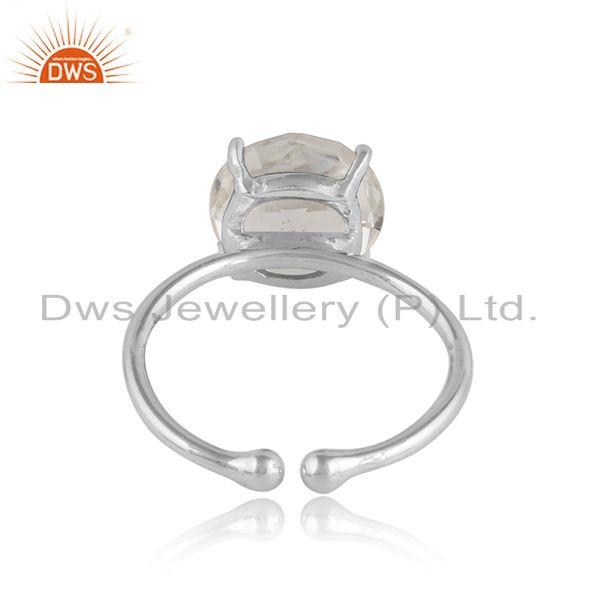 Designer of Crystal quartz gemstone prong set sterling silver ring jewelry