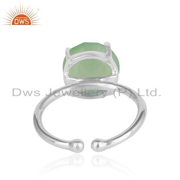 Designer of Prehnite chalcedony gemstone prong set 925 sterling silver rings