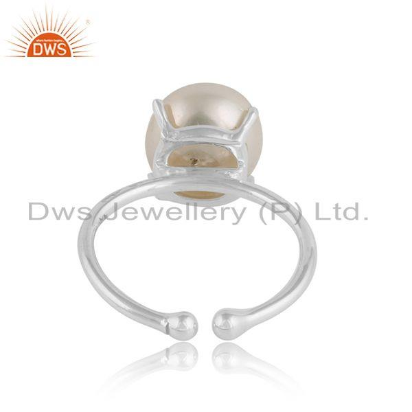 Designer of Natural pearl gemstone womens sterling fine silver prong set ring
