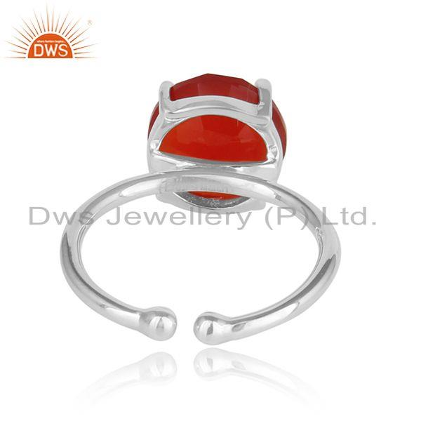 Designer of Red onyx gemstone designer prong set 925 sterling silver rings