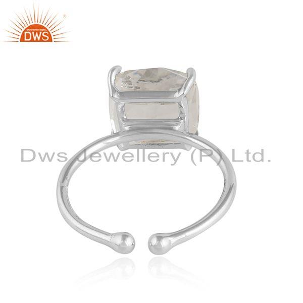 Designer of Crystal quartz gemstone handmade sterling silver designer rings