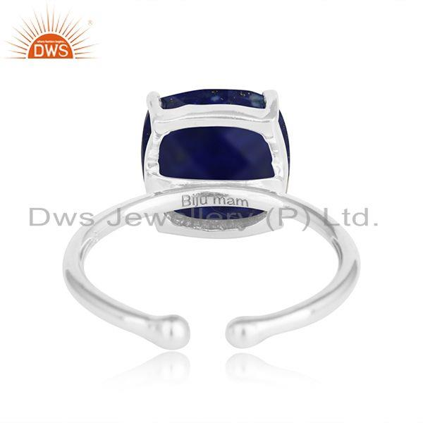 Designer of Lapis lauli gemstone prong set 925 silver ring jewelry for girls