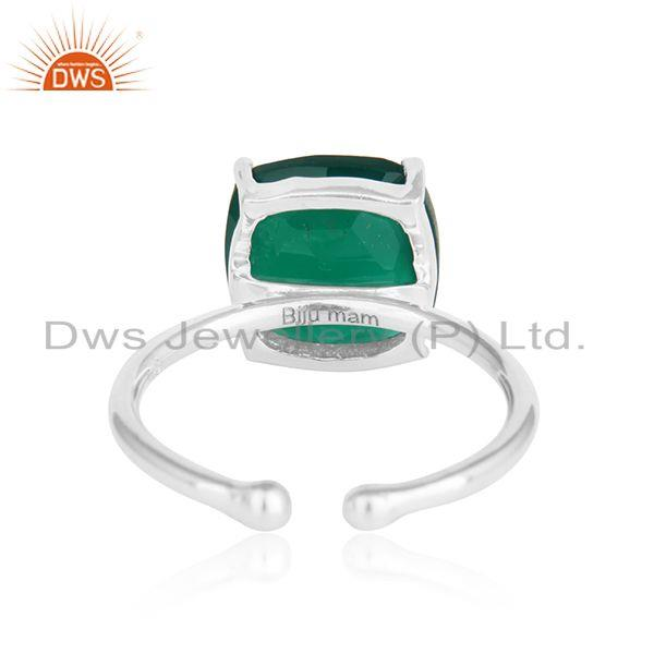 Designer of Green onyx gemstone designer sterling silver adjustable rings