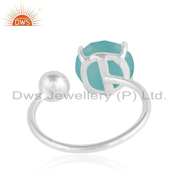 Designer of Aqua chalcedony prong set designer 925 sterling silver ring jewelry