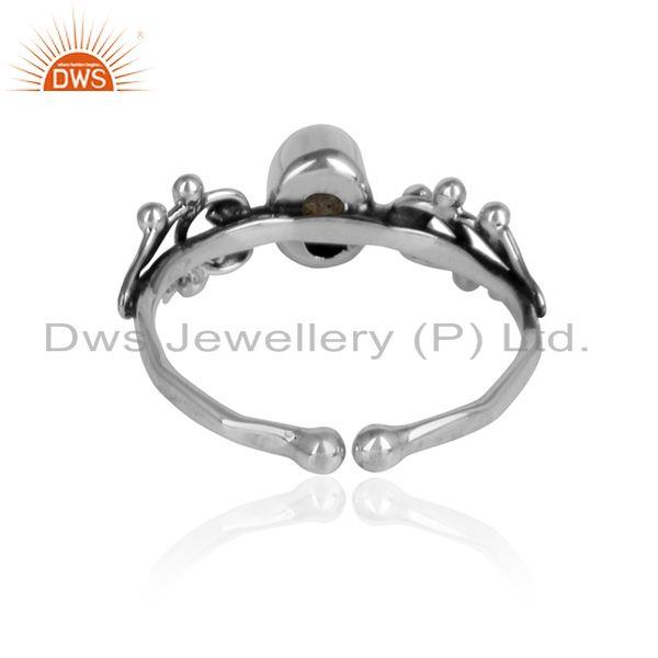 Designer of Labradorite gemstone womens oxidized 925 silver ring jewelry