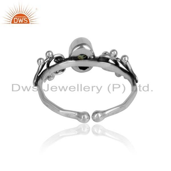 Designer of Peridot gemstone womens 925 silver oxidized designer ring jewelry
