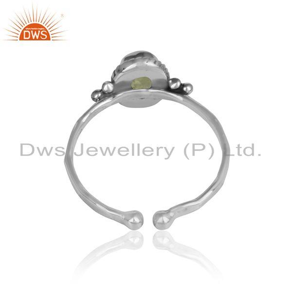 Designer of Peridot gemstone girls designer oxidized 925 silver ring jewelry