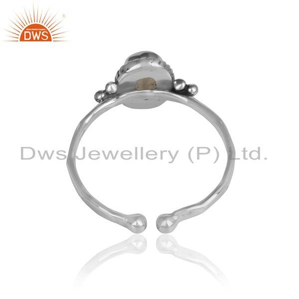 Designer of Rainbow moonstone designer sterling silver oxidized rings jewelry