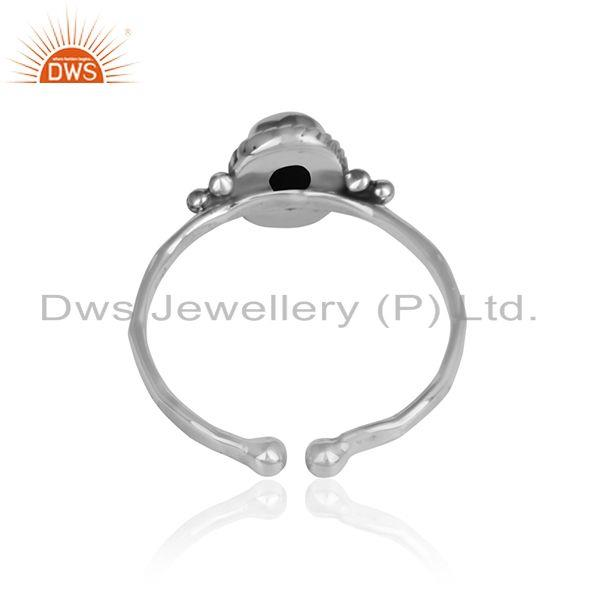 Designer of Black onyx gemstone designer oxidized 925 silver womens rings