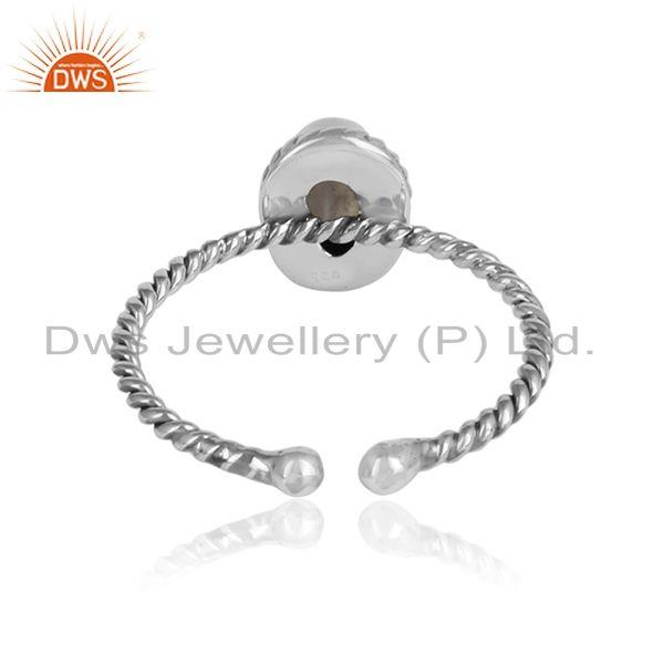 Designer of Rainbow moonstone gemstone twisted silver oxidized rings jewelry
