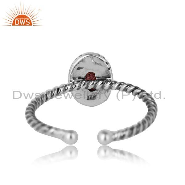 Designer of Pink tourmaline gemstone twisted silver oxidized ring jewelry