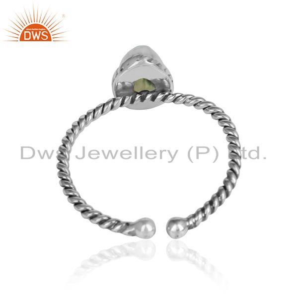 Designer of Peridot gemstone designer girls 925 sterling silver oxidized ring