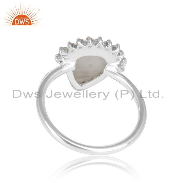 Designer of Pear rainbow moonstone cz sterling fine silver girls ring jewelry