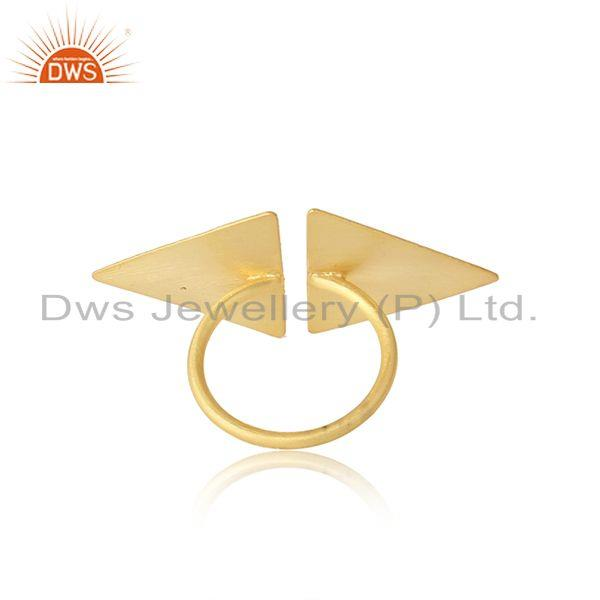 Designer of Two tone plated designer plain silver handmade womens rings