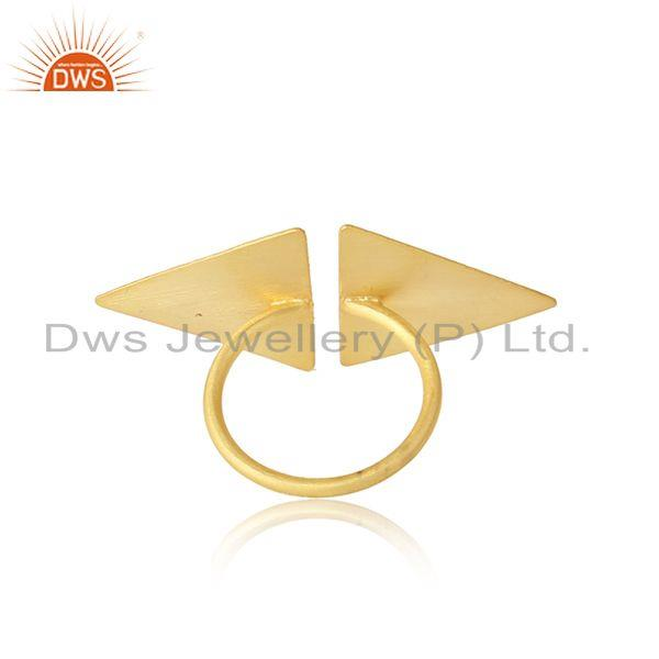 Designer of Tow triangle shape 18k yellow gold plated designer silver rings