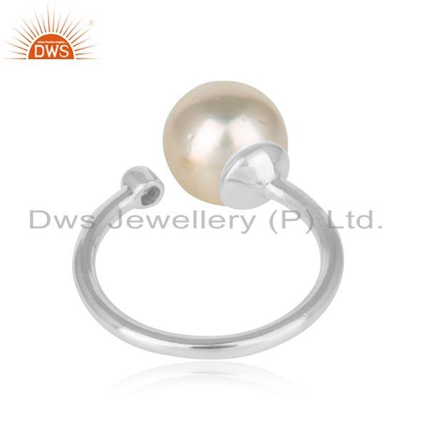 Designer of White rhodium plated silver cz pearl gemstone designer womens rings