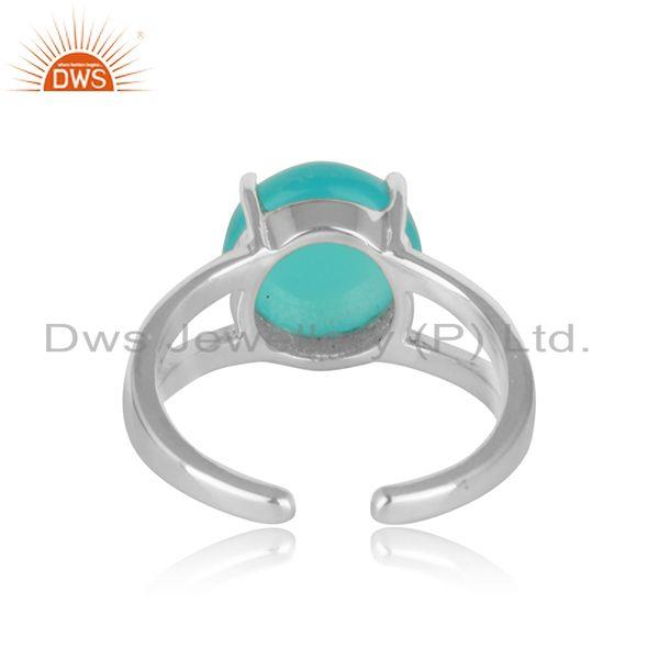 Designer of Designer adjustable fine silver ring with aqua chalcedony