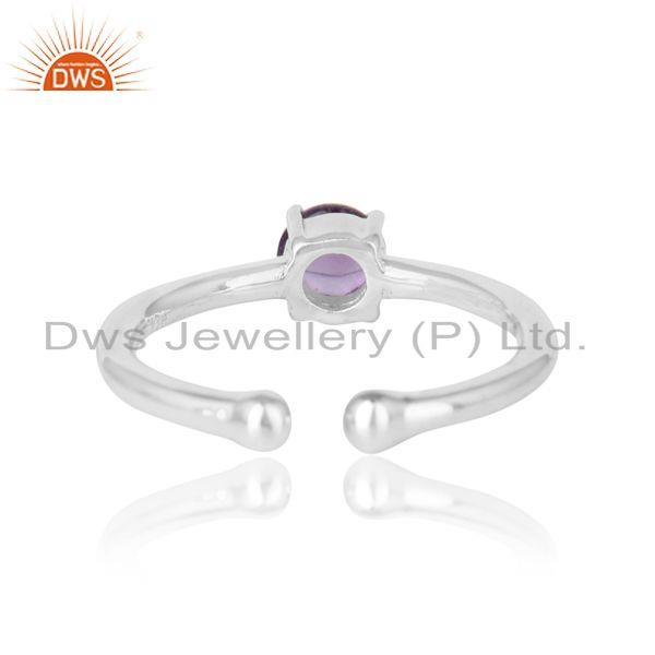 Designer of Elegant dainty solitaitre ring in silver 925 with amethyst
