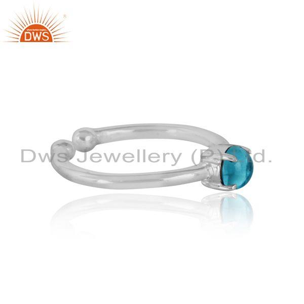 Designer of Elegant dainty solitaitre ring in silver 925 with blue topaz