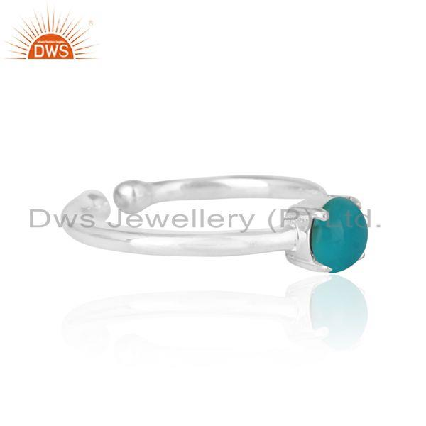 Designer of Elegant dainty solitaitre ring in silver with arizona turquoise