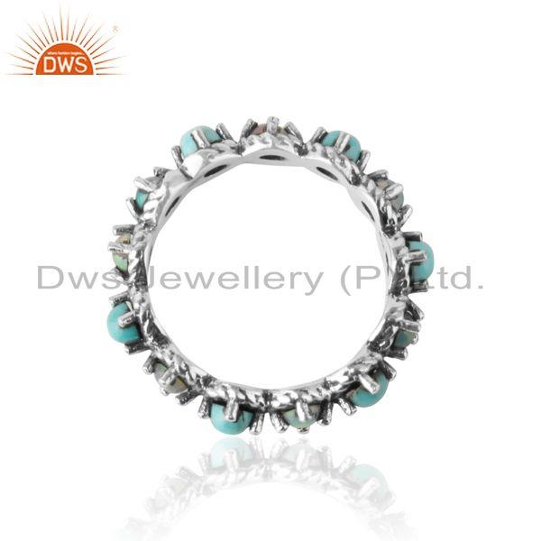 Designer of Eternity ring in oxidized silver ethiopian opal arizona turquoise