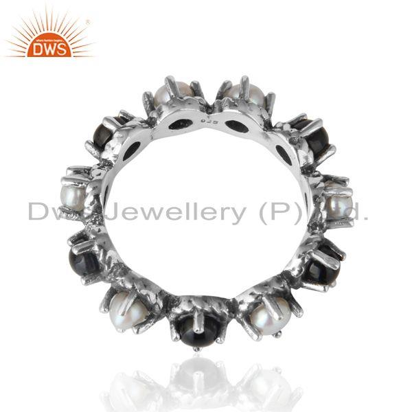 Designer of Handmade eternity ring in oxidized silver with black onyx pearl