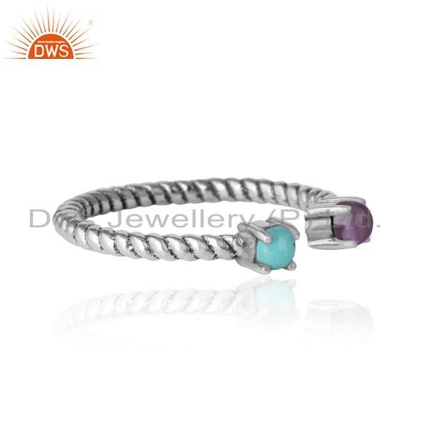 Designer of Twisted ring in oxidized silver 925 arizona turquoise amethyst