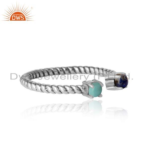 Designer of Twisted ring in oxidized silver 925 arizona turquoise and lapis
