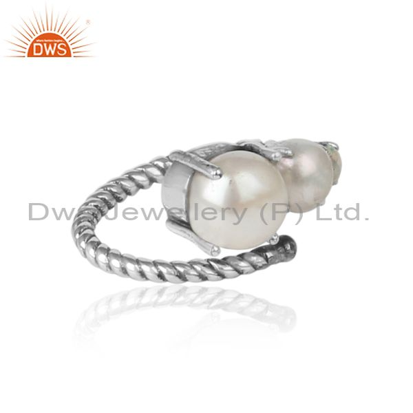 Designer of Handmade designer ring in oxidized silver pearl and ethiopian opal