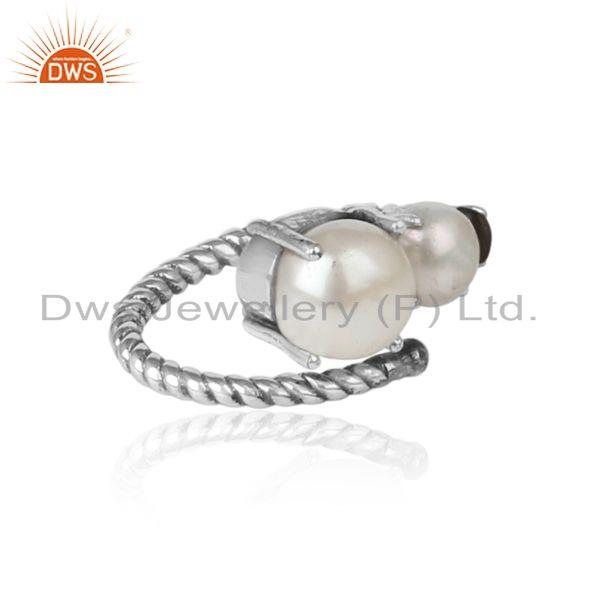 Designer of Handmade designer ring in oxidized silver 925 pearl and smoky