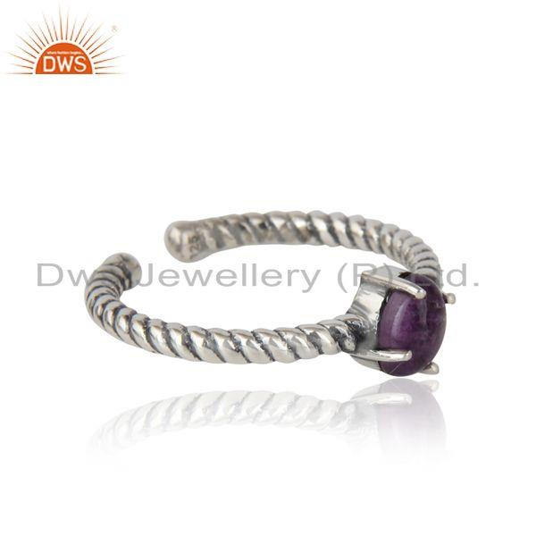 Designer of Dainty oxidized silver ring adorn with tilted natural amethyst