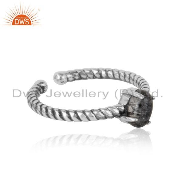 Designer of Dainty oxidized silver ring adorn with tilted natural black rutile