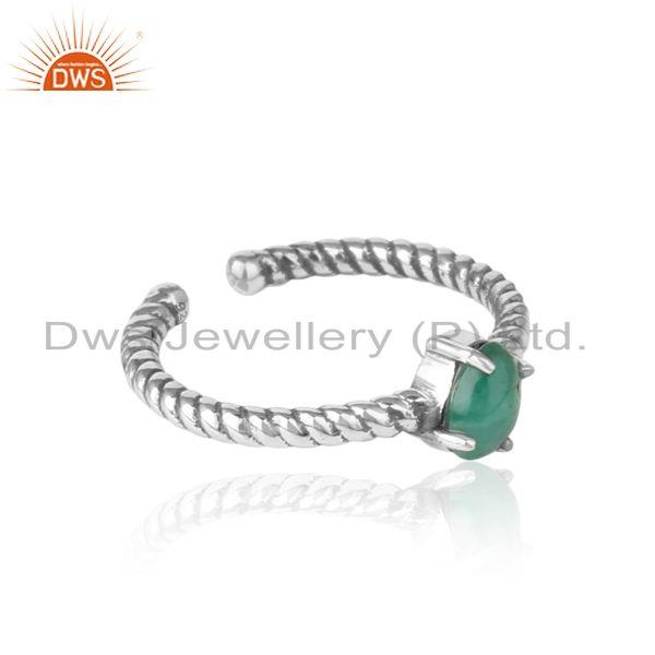 Designer of Dainty oxidized silver ring adorn with tilted natural emerald