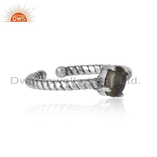 Designer of Dainty oxidized silver ring adorn with tilted natural labradorite