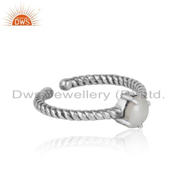 Designer of Dainty oxidized silver ring adorn with tilted natural pearl