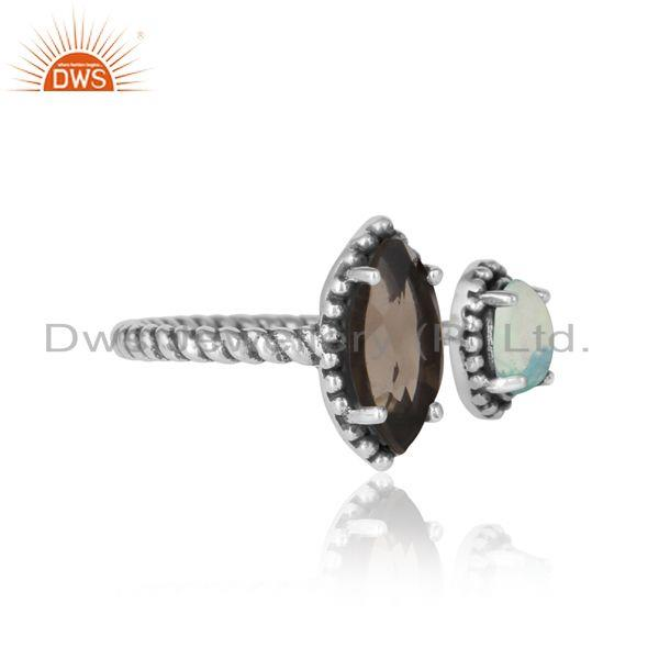Designer of Oxidized silver twisted ring with smoky and ethiopian opal