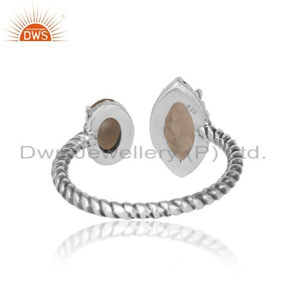 Designer of Oxidized silver 925 twisted designer ring with smoky and pearl