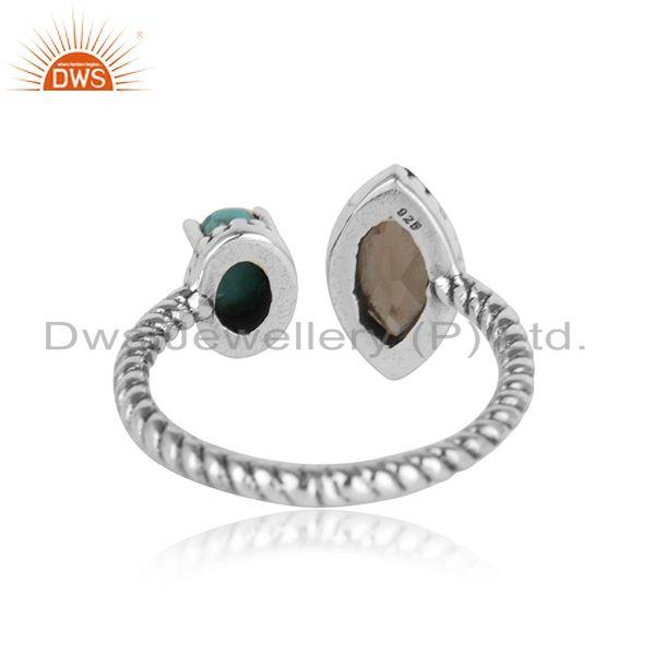 Designer of Oxidised silver twisted ring with smoky and arizona turquiose