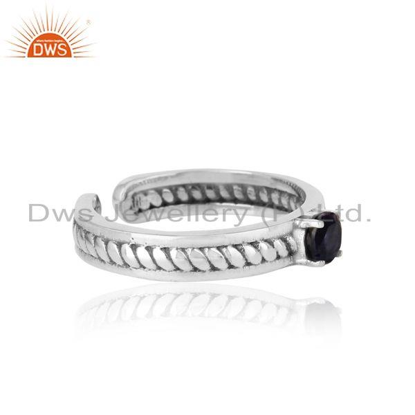 Designer of Designer twisted ring in oxidized silver 925 and iolite