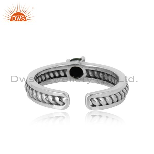 Designer of Designer twisted ring in oxidized silver 925 and arizona turquiose
