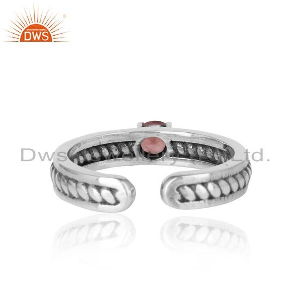 Designer of Designer twisted ring in oxidized silver 925 and pink tourmaline