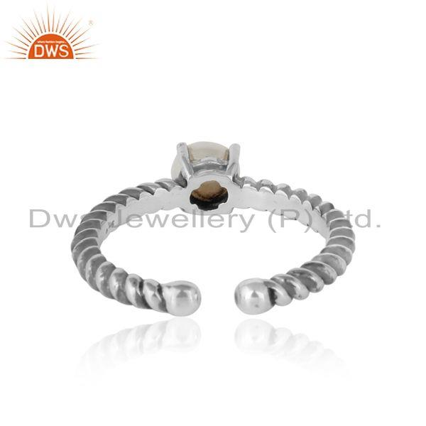 Designer of Designer textured pearl ring in oxidised silver 925