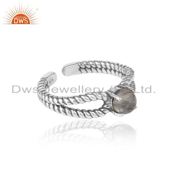 Designer of Black rutile designer twisted ring in oxidized silver 925