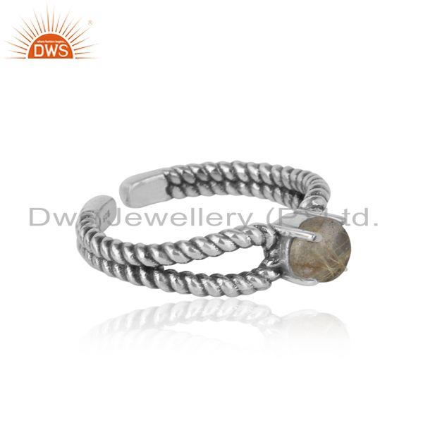 Designer of Designer twisted ring in oxidized silver 925 with black rutile