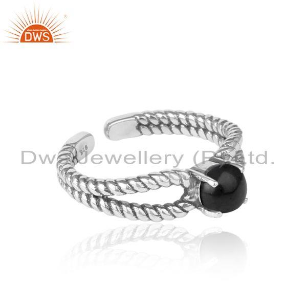 Designer of Designer twisted ring in oxidized silver 925 with black onyx