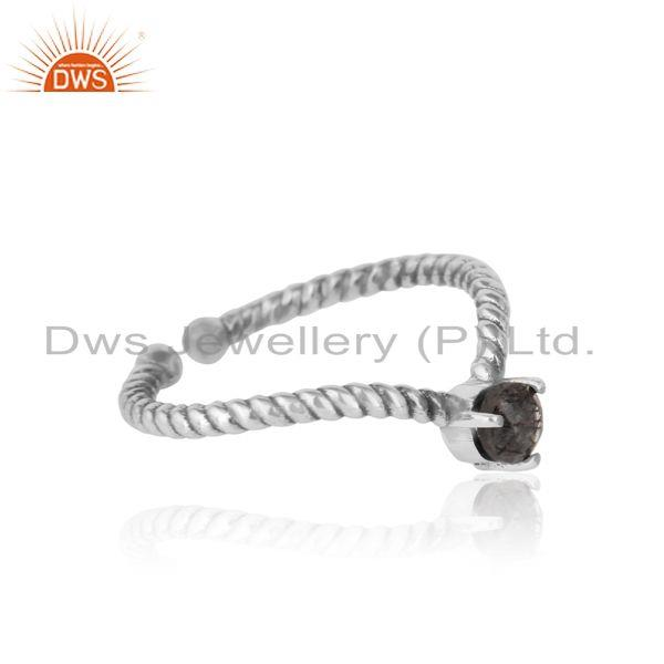 Designer of black rutile dainty designer twisted ring in oxidized silver 925