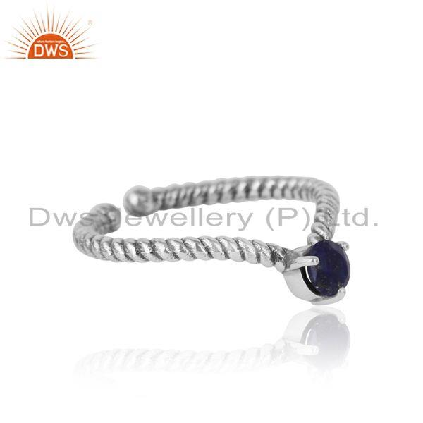 Designer of lapis dainty designer twisted ring in oxidized silver 925